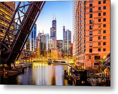 Chicago Skyline At Night And Kinzie Bridge Metal Print by Paul Velgos
