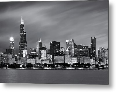 Metal Print featuring the photograph Chicago Skyline At Night Black And White  by Adam Romanowicz