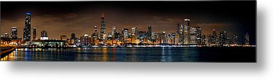 Chicago Skyline At Night Extra Wide Panorama Metal Print by Jon Holiday