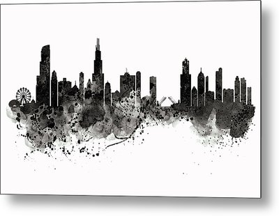 Chicago Skyline Black And White Metal Print by Marian Voicu