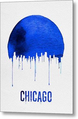 Chicago Skyline Blue Metal Print by Naxart Studio