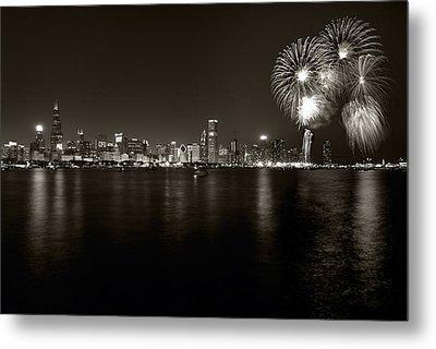 Chicago Skyline Fireworks Bw Metal Print by Steve Gadomski