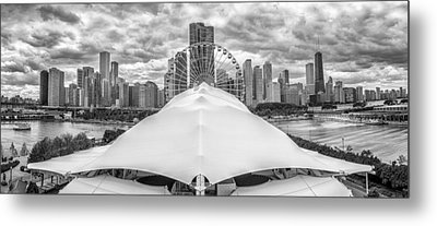 Metal Print featuring the photograph Chicago Skyline From Navy Pier Black And White by Adam Romanowicz