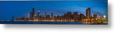 Chicago Skyline From North Ave Beach Panorama Metal Print by Steve Gadomski