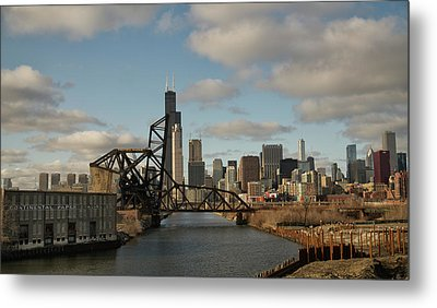 Metal Print featuring the photograph Chicago Skyline From The South Branch by Sheryl Thomas