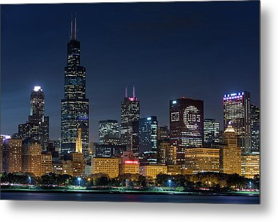 Metal Print featuring the photograph Chicago Skyline Go Gubs  by Emmanuel Panagiotakis