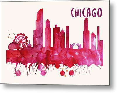Chicago Skyline Watercolor Poster - Cityscape Painting Artwork Metal Print