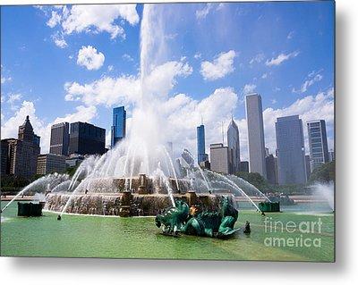 Chicago Skyline With Buckingham Fountain Metal Print by Paul Velgos