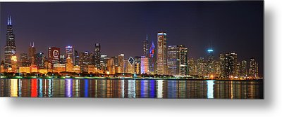 Chicago Skyline With Cubs World Series Lights Night, Chicago, Cook County, Illinois,  Metal Print
