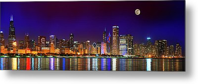 Chicago Skyline With Cubs World Series Lights Night, Moonrise, Lake Michigan, Chicago, Illinois Metal Print