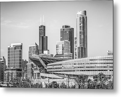 Chicago Skyline With Soldier Field And Willis Tower  Metal Print