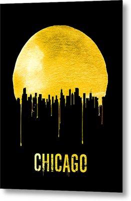 Chicago Skyline Yellow Metal Print by Naxart Studio