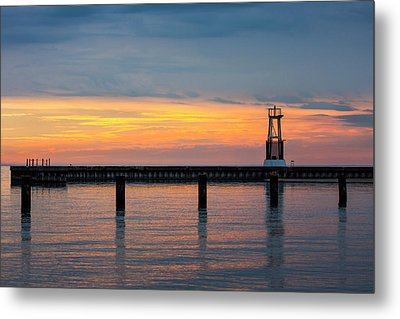 Chicago Sunrise At North Ave. Beach Metal Print by Adam Romanowicz