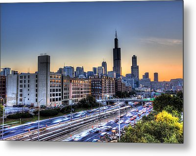 Metal Print featuring the photograph Chicago Sunrise Rush Hour by Shawn Everhart