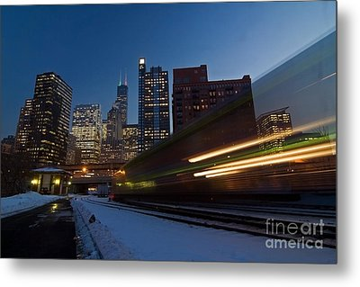 Chicago Train Blur Metal Print by Sven Brogren