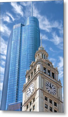 Metal Print featuring the painting Chicago Trump And Wrigley Towers by Christopher Arndt