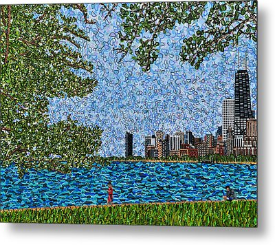 Chicago - View From Lakefront Trail Metal Print by Micah Mullen