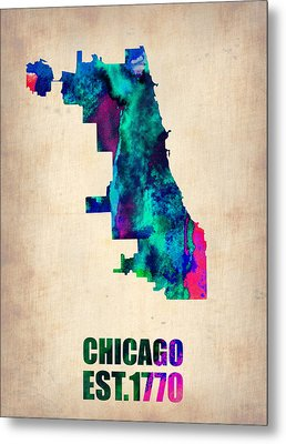 Chicago Watercolor Map Metal Print by Naxart Studio