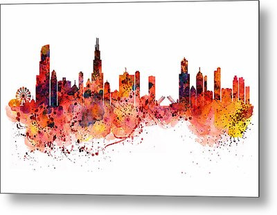 Chicago Watercolor Skyline Metal Print by Marian Voicu