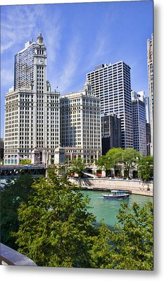 Chicago With Boat Metal Print by Paul Bartoszek