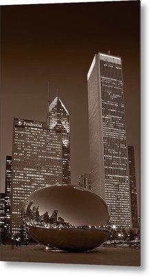 Chicagos Millennium Park Bw Metal Print by Steve Gadomski
