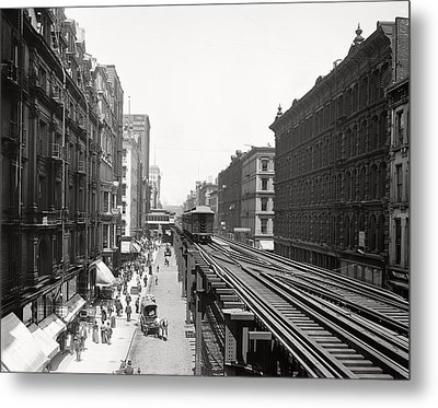 Chicago's Wabash Avenue  1900 Metal Print by Daniel Hagerman