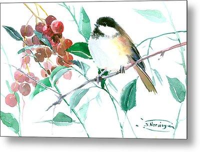 Chickadee And Berries Metal Print by Suren Nersisyan