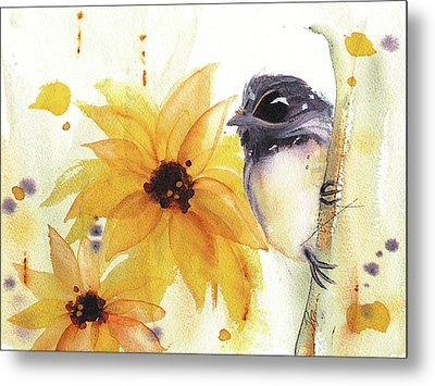 Metal Print featuring the painting Chickadee And Sunflowers by Dawn Derman