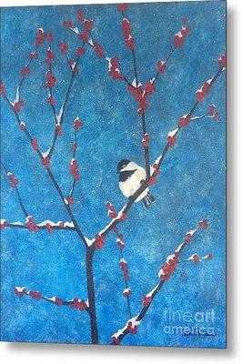 Metal Print featuring the painting Chickadee Bird by Denise Tomasura