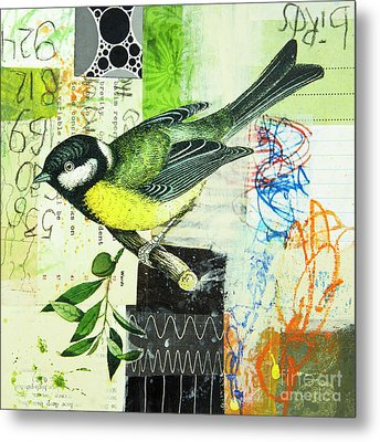 Metal Print featuring the mixed media Chickadee by Elena Nosyreva