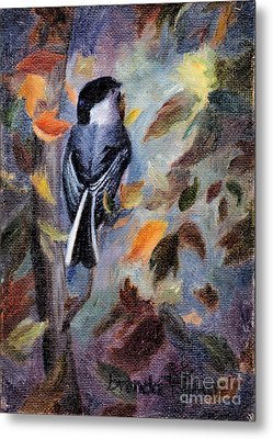 Chickadee In The Fall Metal Print by Brenda Thour