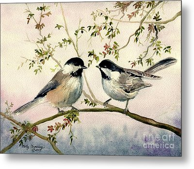 Chickadee Love Metal Print