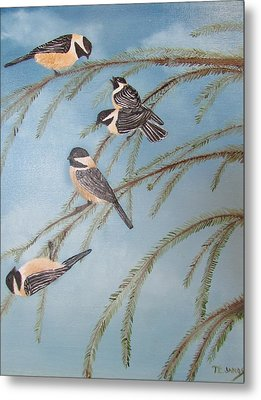Chickadee Party Metal Print by Thomas Janos