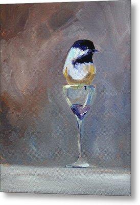 Chickadee Wine Metal Print by Nancy Merkle