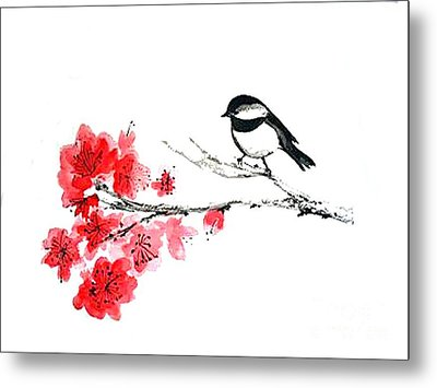 Metal Print featuring the painting Chickadee With Plum Blossom by Sibby S