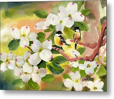 Chickadees In The Dogwood Tree Metal Print by Eileen  Fong