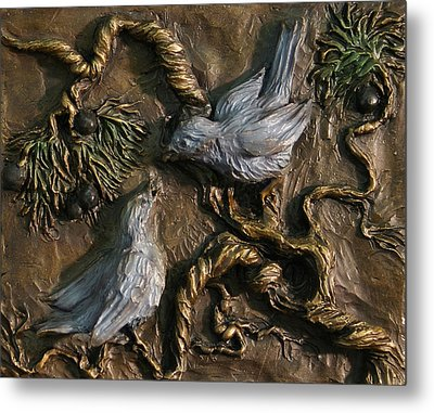 Metal Print featuring the relief Chickadees On Juniper With Berries  by Dawn Senior-Trask