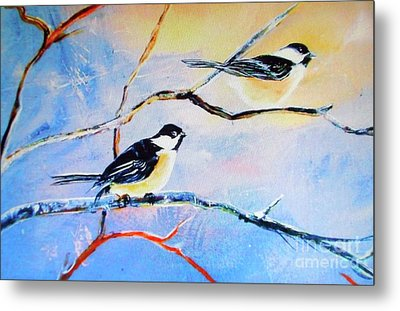 Metal Print featuring the painting Black-capped Chickadees Limited Edition Prints 2-20 Set Decor In Wanderlust  by Donna Dixon