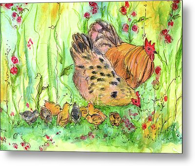Metal Print featuring the painting Chicken Family by Cathie Richardson