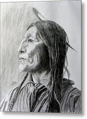 Chief Wolf Robe Metal Print by Stan Hamilton