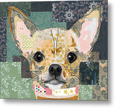 Chihuahua Collage Metal Print by Claudia Schoen