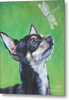 Chihuahua With Dragonfly Metal Print