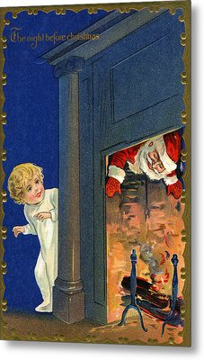 Child Watches As Santa Comes Down Chimney On Christmas Eve Metal Print