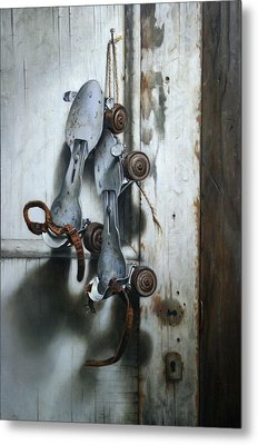 Metal Print featuring the painting Childhood Bruises by William Albanese Sr