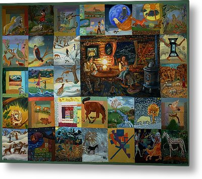 Metal Print featuring the painting Childhood Quilt by Dawn Senior-Trask