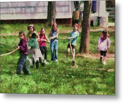 Children - Tug Of War  Metal Print by Mike Savad