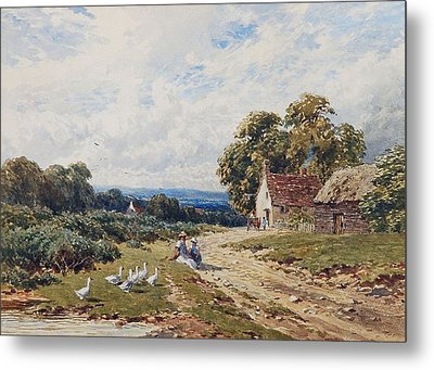 Children And Geese Metal Print by Harry Sutton