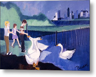 Children And Geese In Central Park 1971 Metal Print by Betty Pieper