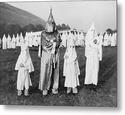 Children In Ku Klux Klan Costumes Pose Metal Print by Everett