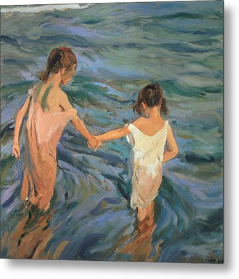 Children In The Sea Metal Print by Joaquin Sorolla y Bastida